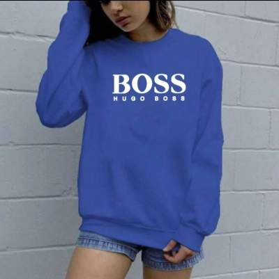 Casual Loose Word print Round neck Long sleeve Sweatshirts