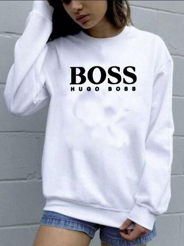 Casual Loose Word print Round neck Long sleeve Sweatshirts