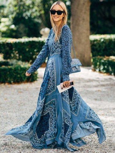 Fashion Casual Print V neck Long sleeve Gored Maxi Dresses