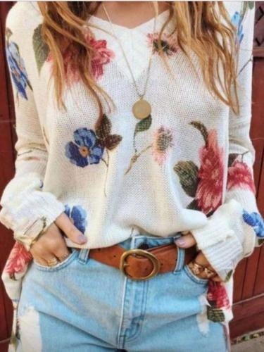 Casual Loose Floral print V neck Long sleeve Knit Sweaters