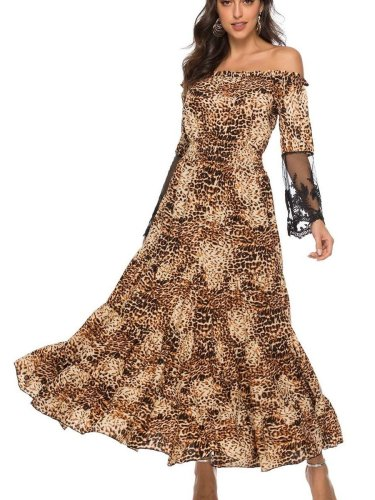 Fashion Leopard print One shoulder Gored Lace Long sleeve Maxi Dresses