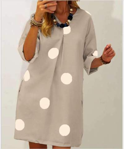 Casual Loose Point print V neck Long sleeve Shift Dresses