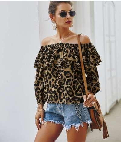 Stylish Leopard print One shoulder Long sleeve Falbala T-Shirts