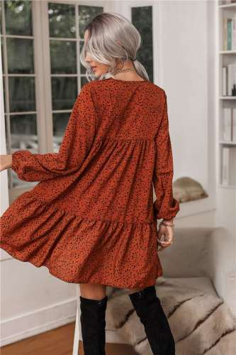 Casual Loose Point print V neck Long sleeve Gored Shift Dresses