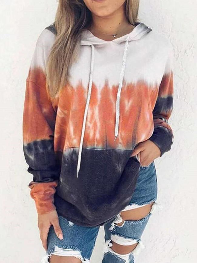 Casual Gradient print Long sleeve Hoodies Sweatshirts