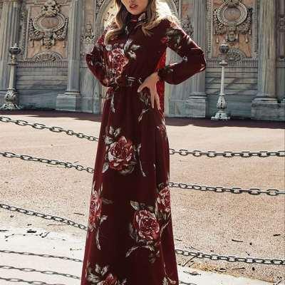 Stylish Floral print High collar Long sleeve Skater Maxi Dresses