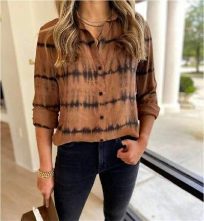 Casual Loose Stripe print Lapel Long sleeve Blouses