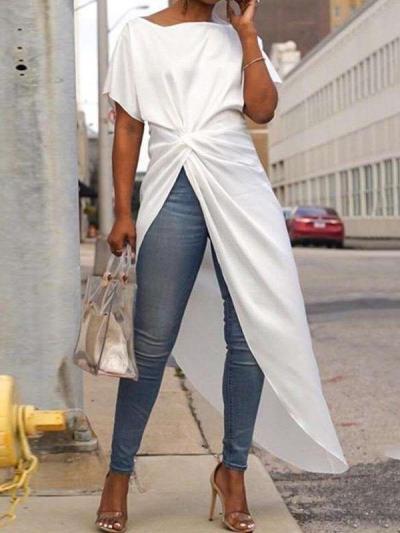 Fashion Round neck Short sleeve Knot Irregular Long T-Shirts