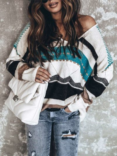 Casual Loose Stripe print V neck Long sleeve Knit Sweaters