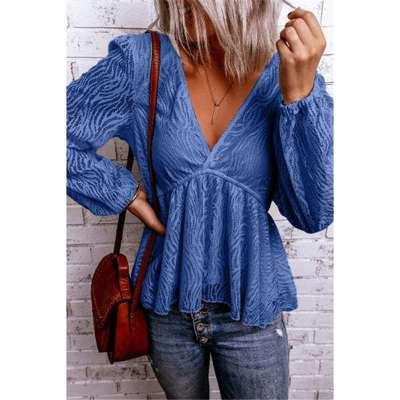 Casual Stripe Pure V neck Gored Long sleeve T-Shirts
