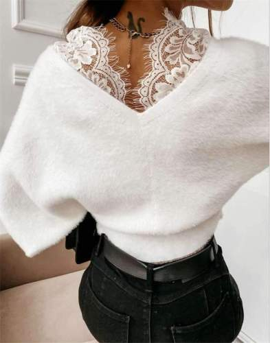 Casual Pure Lace Gored V neck Long sleeve Flannel Sweaters