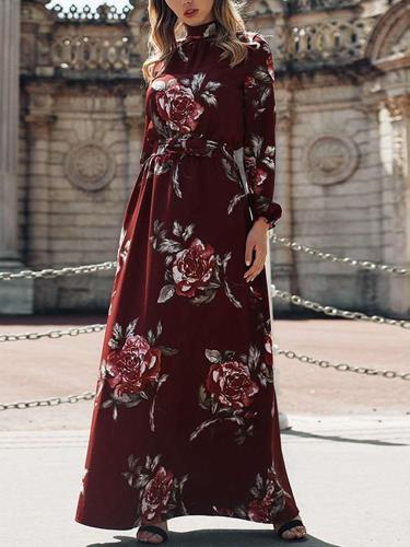 Stylish Floral print High collar Long sleeve Skater Maxi Dresses
