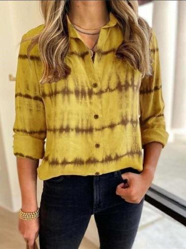 Casual Loose Stripe print Lapel Long sleeve Blouses