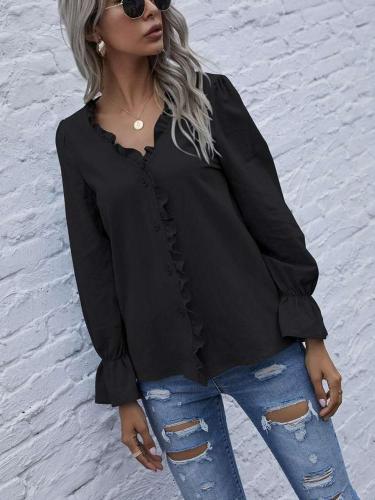 Fashion Pure Stringy selvedge V neck Long sleeve Blouses