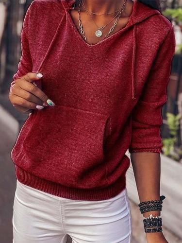 Stylish Pure Long sleeve Knit Hoodies Sweatshirts