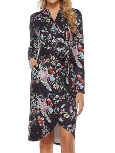 Fashion Floral print V neck Long sleeve Lacing Skater Dresses