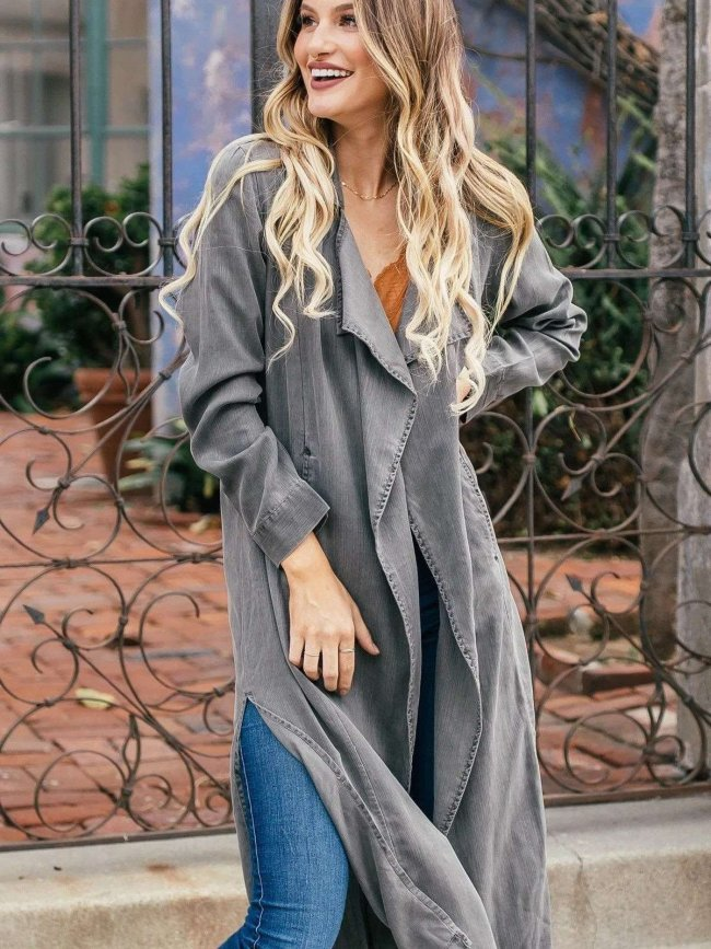 Casual Pure Lapel Long sleeve Vent Trench Coats