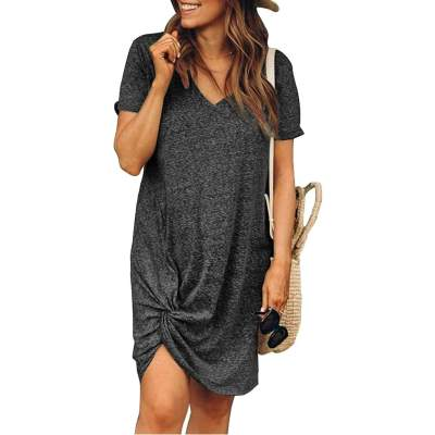 Casual Pure V neck Short sleeve Kink Shift Dresses