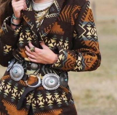 Fashion Retro print Lapel Long sleeve Coats