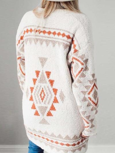 Casual Geometric print Long sleeve Knit Cardigan