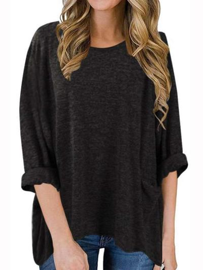 Casual Loose Pure Round neck Long sleeve T-Shirts