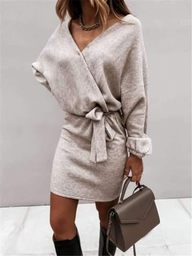 Fashion Pure Lacing V neck Long sleeve Knit Bodycon Dresses