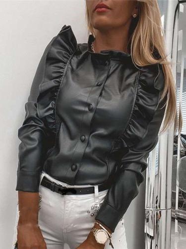 Fashion Round neck Falbala Long sleeve PU Blouses