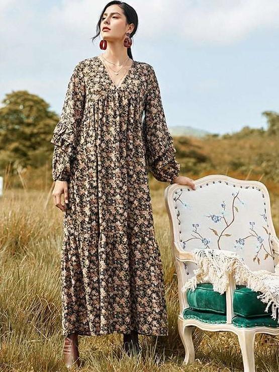 Casual Loose Floral print V neck Long sleeve Maxi Dresses