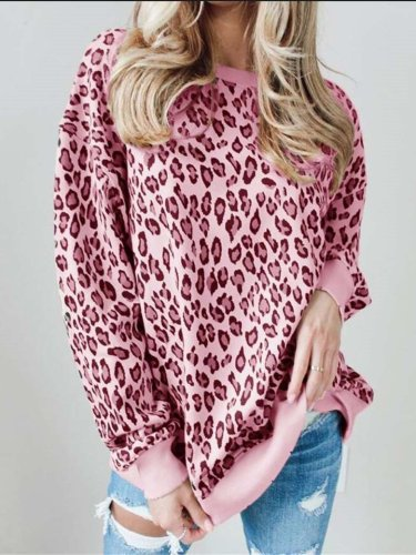 Casual Loose Leopard print Round neck Long sleeve T-Shirts