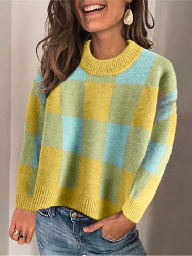 Casul Plaid Round neck Long sleeve Knit Sweaters