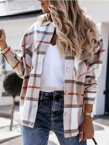 Fashion Plaid print Lapel Long sleeve Coats