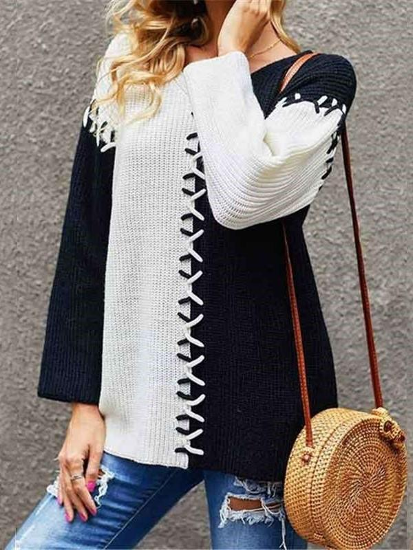 Fashion Gored Round neck Long sleeve Knit Sweaters