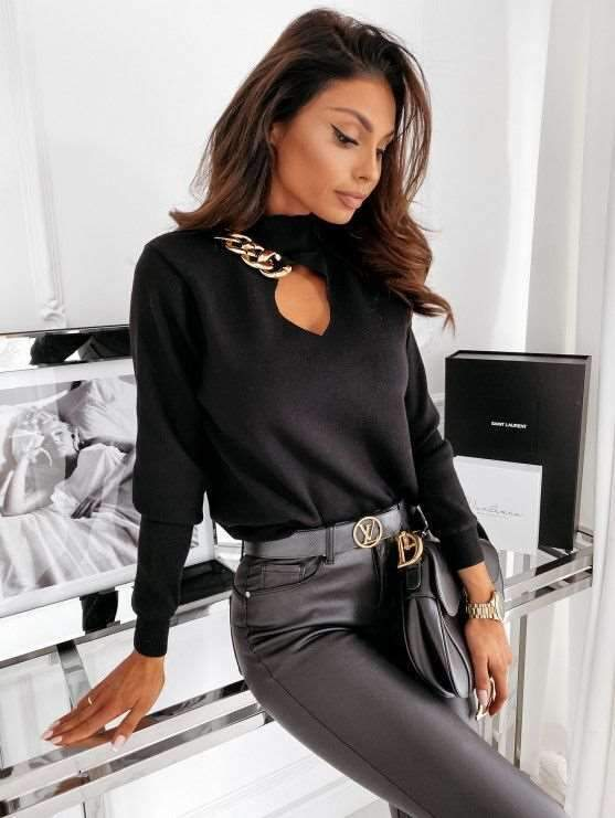 Fashion Pure Chain Hollow out High collar Long sleeve Knit Sweaters