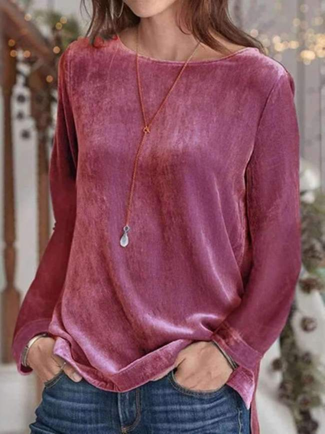 Stylish Pure Round neck Long sleeve Pleuche T-Shirts