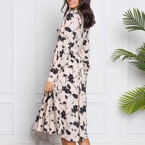 Stylish Elegent Retro Floral print Round neck Long sleeve Maxi Dresses