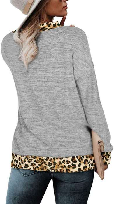 Casual Gored Leopard print V neck Long sleeve T-Shirts