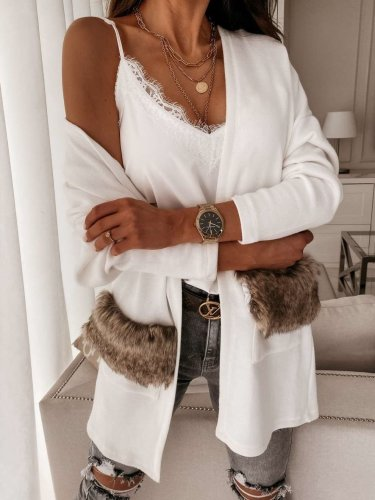 Fashion Pure V neck Long sleeve Lacing Fur Pocket Coats