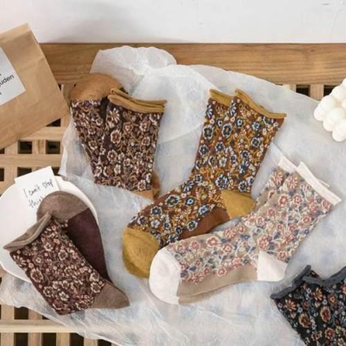 Women Vintage Casual Cotton Floral Socks