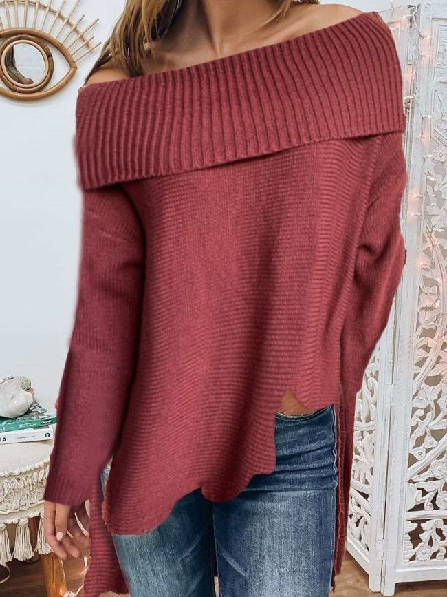 Casual Pure One shoulder Long sleeve Knit Sweaters