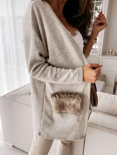 Fashion Pure V neck Long sleeve Lacing Fur Pocket Coats
