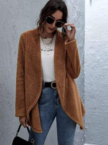 Fashion Plush Lapel Long sleeve Coats