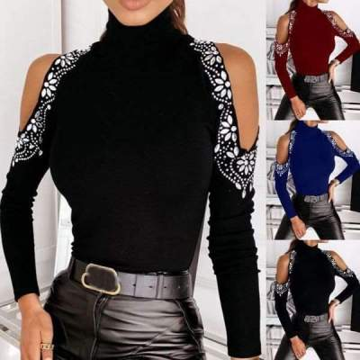 Fashion Sexy Hot drilling Off shoulder High collar Long sleeve Knit Sweaters