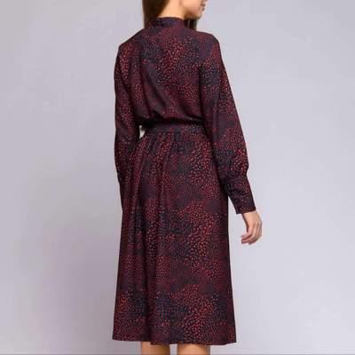 Stylish Print Lacing Round neck Long sleeve Belt Skater Dresses