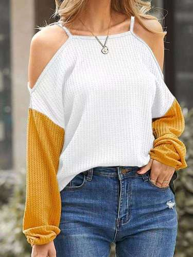 Fashion Casual Gored Off shoulder Vest Long sleeve Knit Sweaters