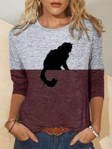Fashion Gored Cat print Round neck Long sleeve T-Shirts
