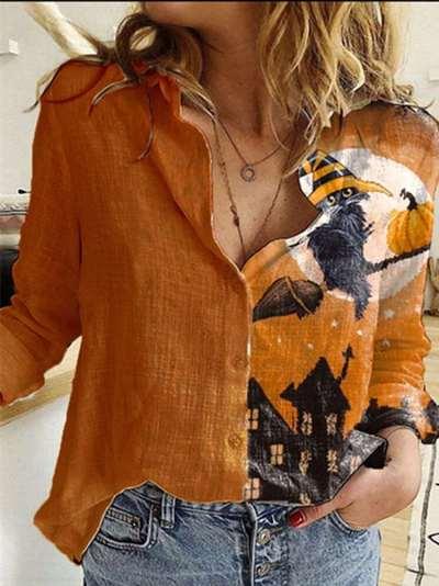 Casual Gored Print Lapel Long sleeve Blouses
