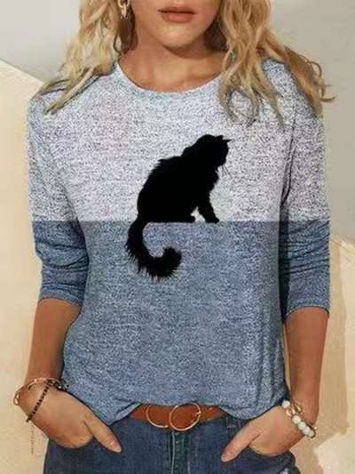 Fashion Gored Cat print Round neck Long sleeve T-Shirts