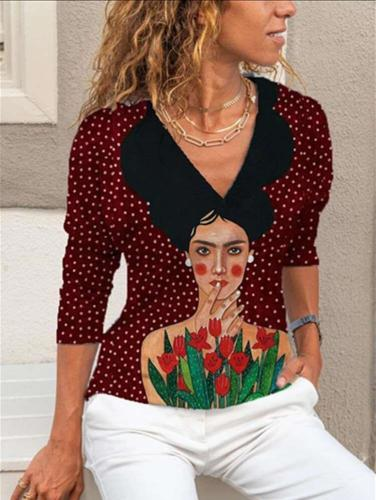 Stylish Portrait print Lapel Long sleeve Blouses