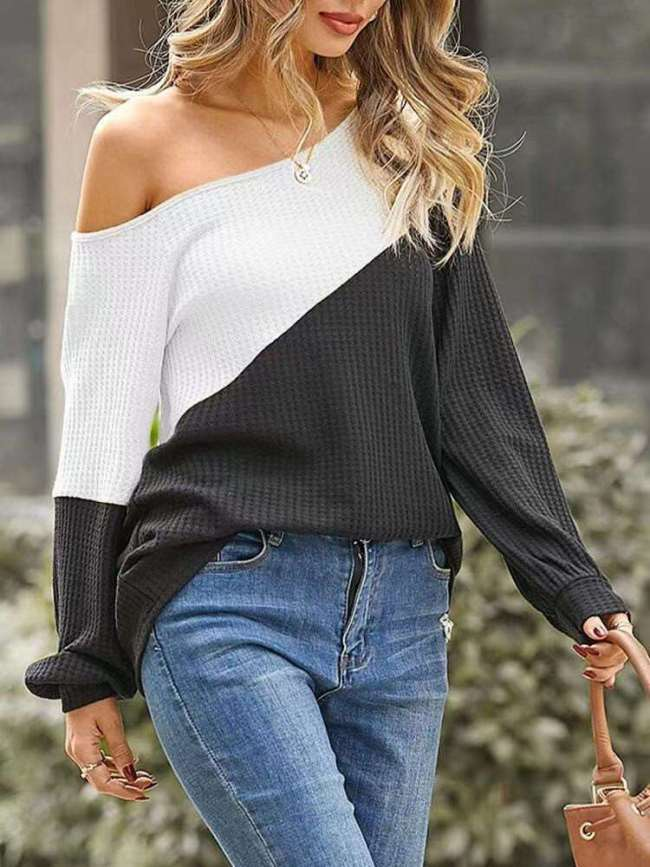 Fashion Gored One shoulder Long sleeve Knit Sweaters