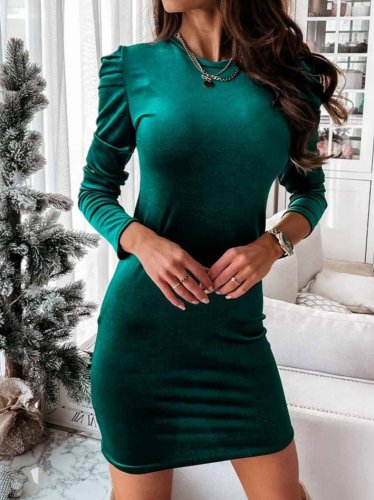 SOLID COLOR FOAM LONG SLEEVE MINI DRESS BODYCON DRESSES